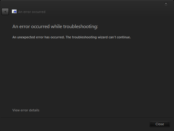Troubleshoot wizard troubleshooter